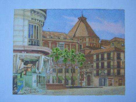 Serie Opinión Plaza de la Constitucion Acuarela 20x26