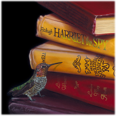 178-HummingBird-books-Oil-Painting