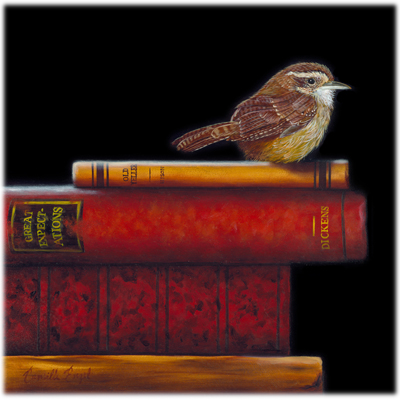 179-Carolina-Wren-Bird-books-Oil-Painting