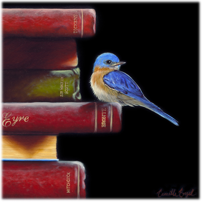 180-Bluebird-Bird-books-Oil-Painting