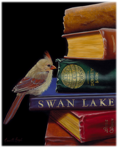 182-Female-Cardinal-Bird-books-Oil-Painting