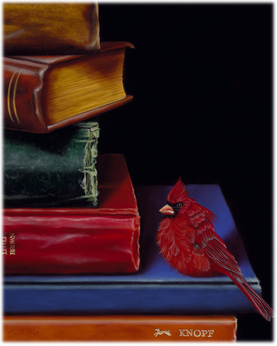 183-Male-Cardinal-Bird-books-Painting