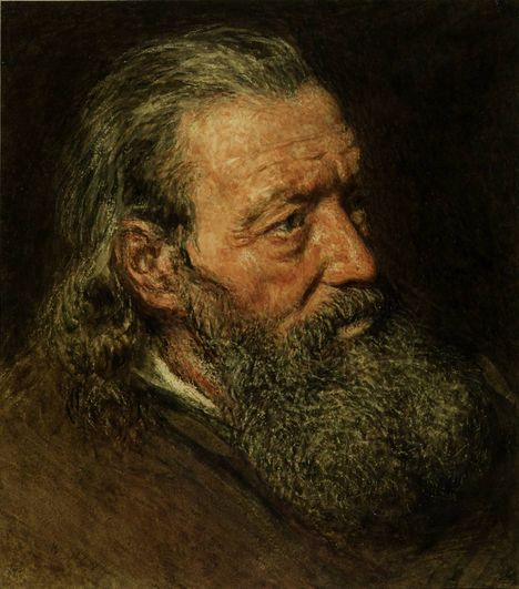 Portrait Study of a Bearded Man circa 1835-40 by William Henry Hunt 1790-1864