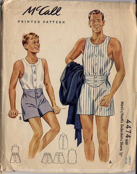 vintage mens underwear pattern 40s