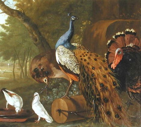An-Assembly-Of-Birds-In-A-Classical-Park,-1719