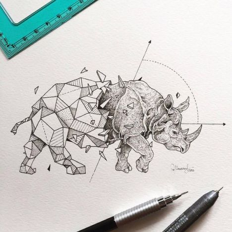 Beauty-Wild-Animals-Intricate-Drawings-Fused-With-Geometric-Shapes-01