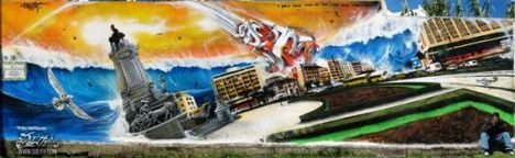 Graffiti-tribute-Mural-to-the-Great-Lisbon-1755-earthquake-Odeith-Damaia-Portugal
