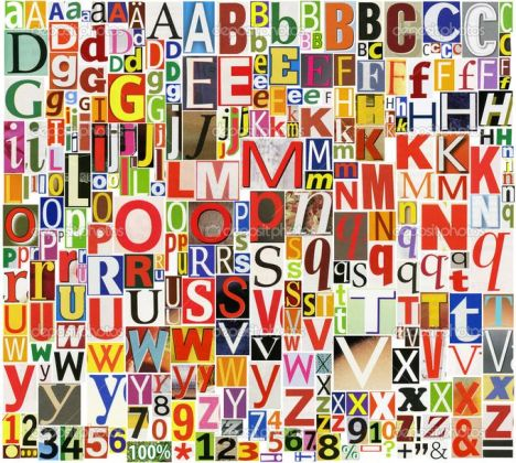 Colorful, newspaper, magazine alphabet with letters, numbers and symbols. Isolated on white background